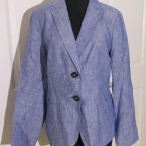 TALBOTS Cross-Dyed Linen Blazer 6-Fits 8 NWT Blue